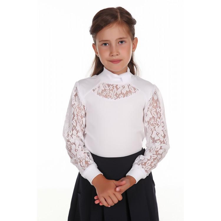 Блузка белая школьная с кружевом