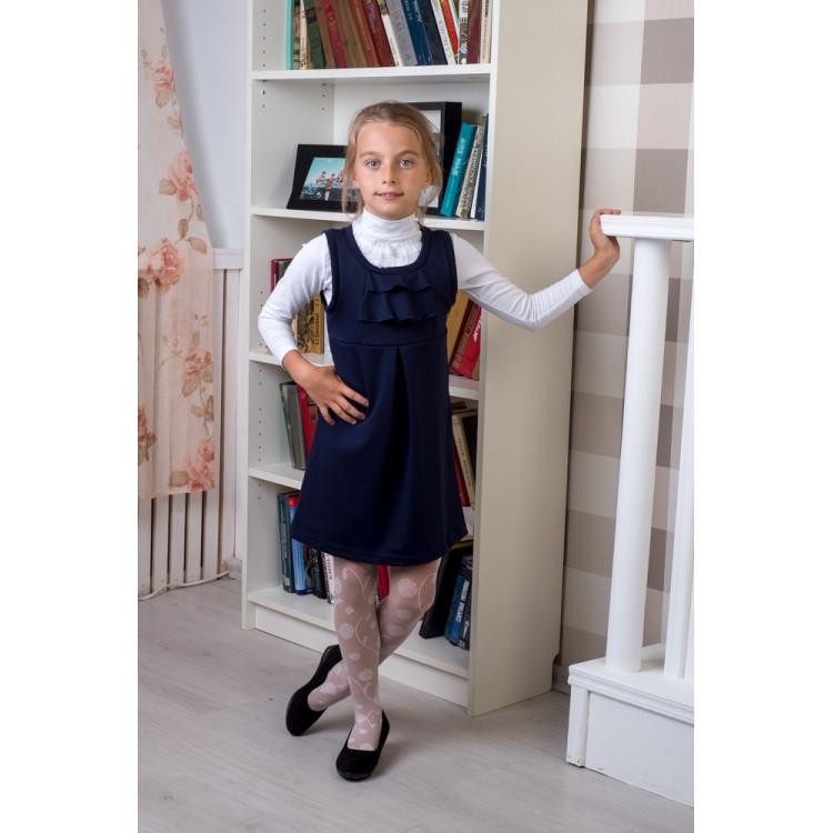 Сарафан школьный синего цвета