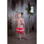 Платье с оборками снизу, розовое