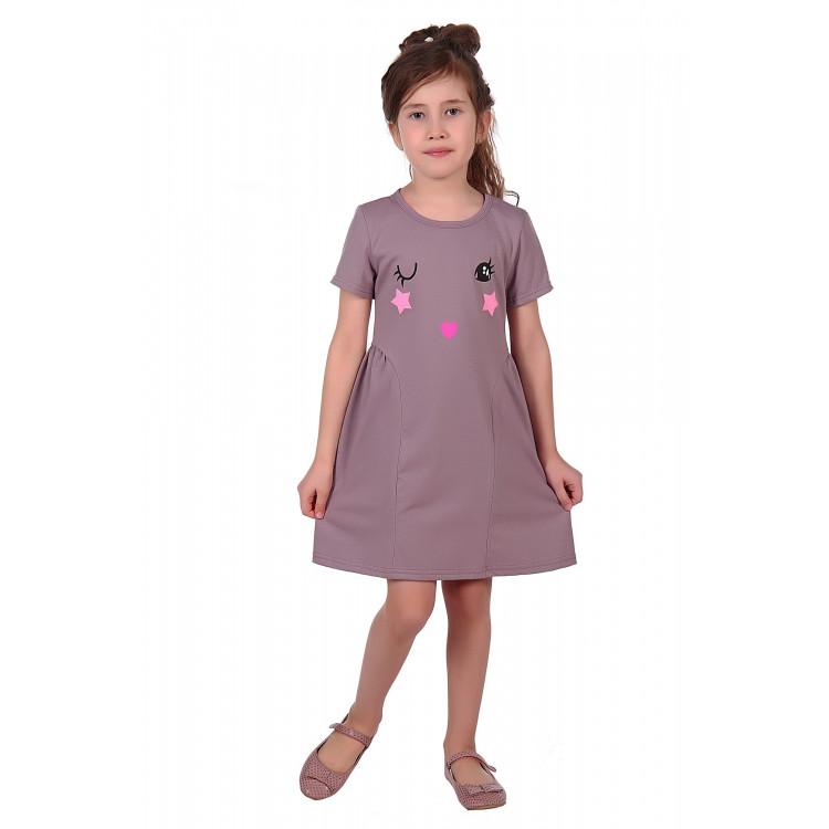 Платье фиолетового цвета с глазками