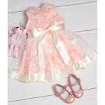 Платье персикового цвета с шёлковым бантом