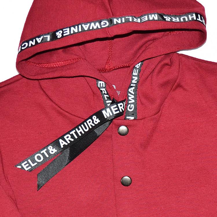 Бордовый спортивный костюм с капюшоном