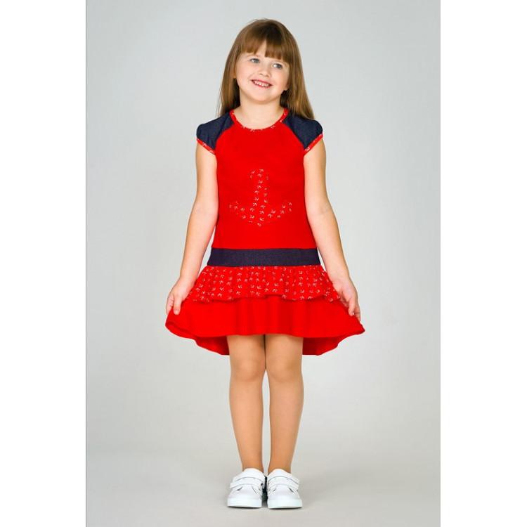 Платье красное с якорем