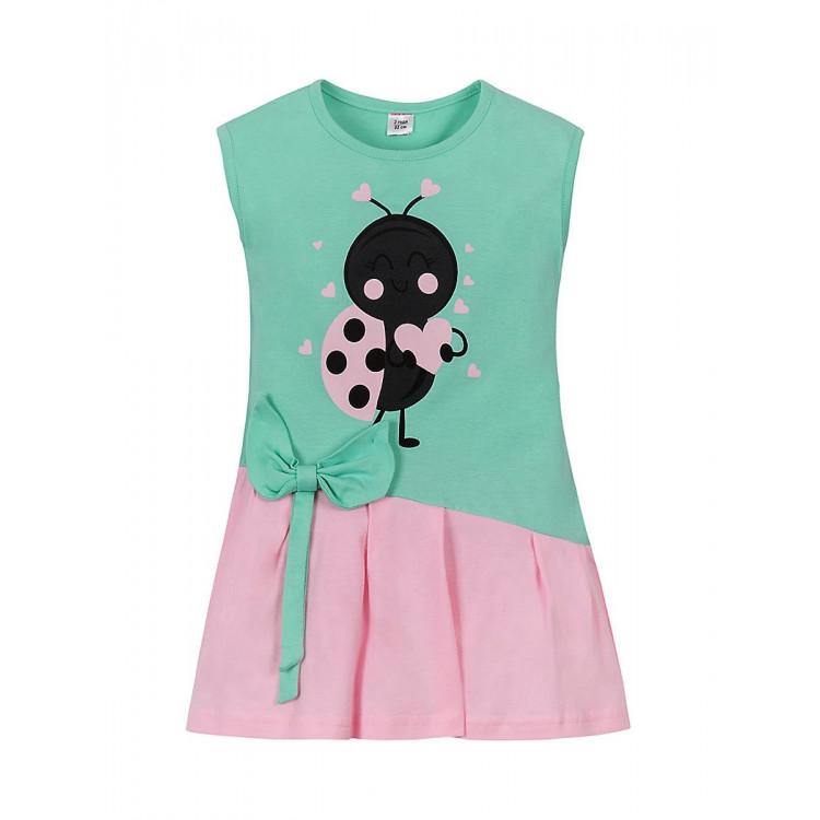 Платье ментолово-розовое с рисунком
