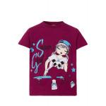 Бордовая футболка для девочки SuperGirl