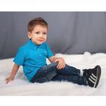 Джемпер-поло с короткими рукавами, голубой