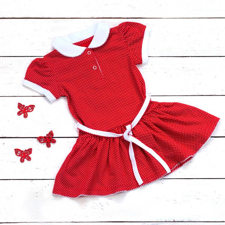 Платье-поло красного цвета в горох