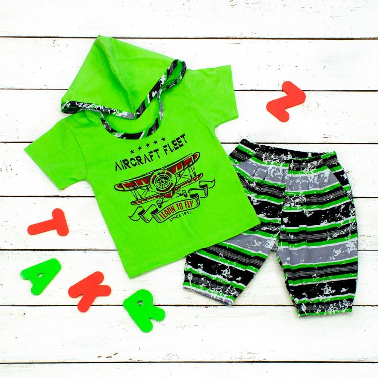 Костюм для мальчика с шортами зеленый