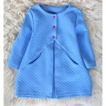Пальто для девочки голубого цвета