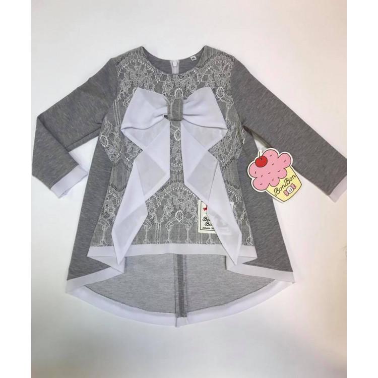 Туника для девочки Karolina, серого цвета