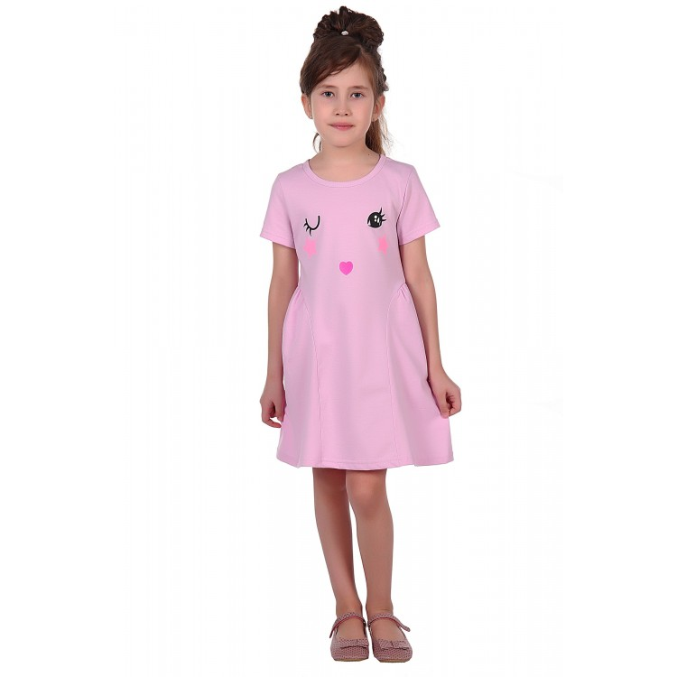 Платье лилового цвета с личиком