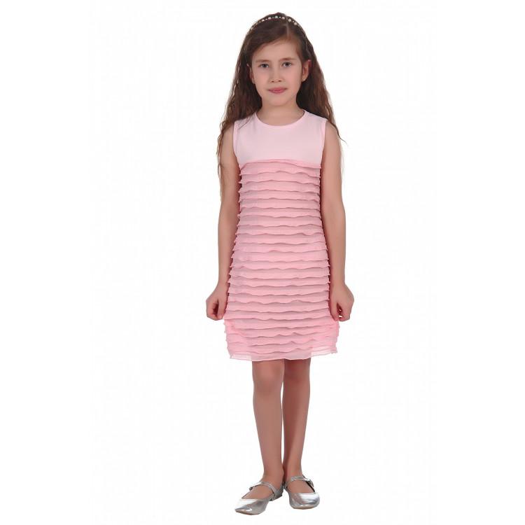 Платье без рукавов с рюшью