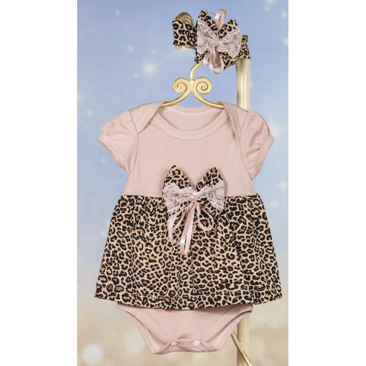 Леопардовое боди-платье
