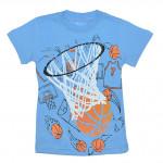 Спортивная футболка из хлопка голубого цвета