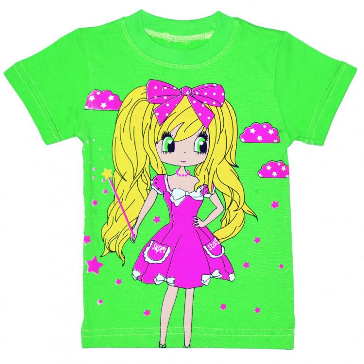 Зеленая детская футболка на девочку