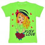 """Салатовая детская футболка """"Fusy Love"""""""