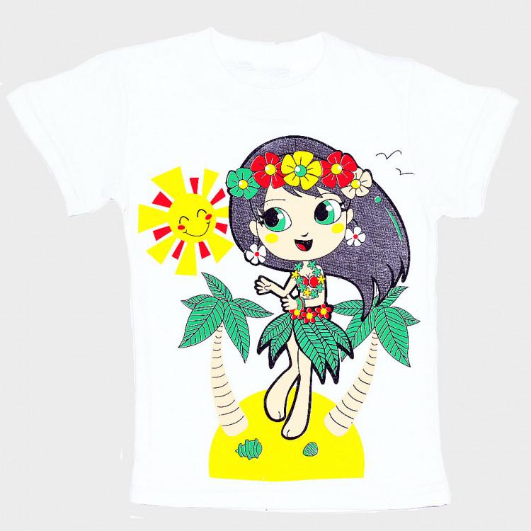 Купить белую футболку для девочки