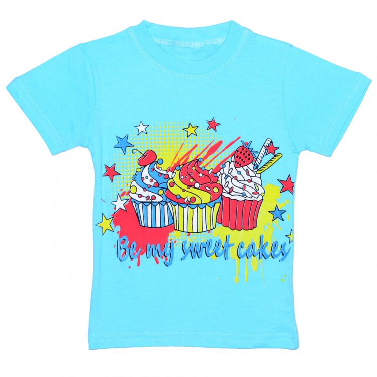 """Хлопковая детская футболка голубая """"Ice Cream"""""""