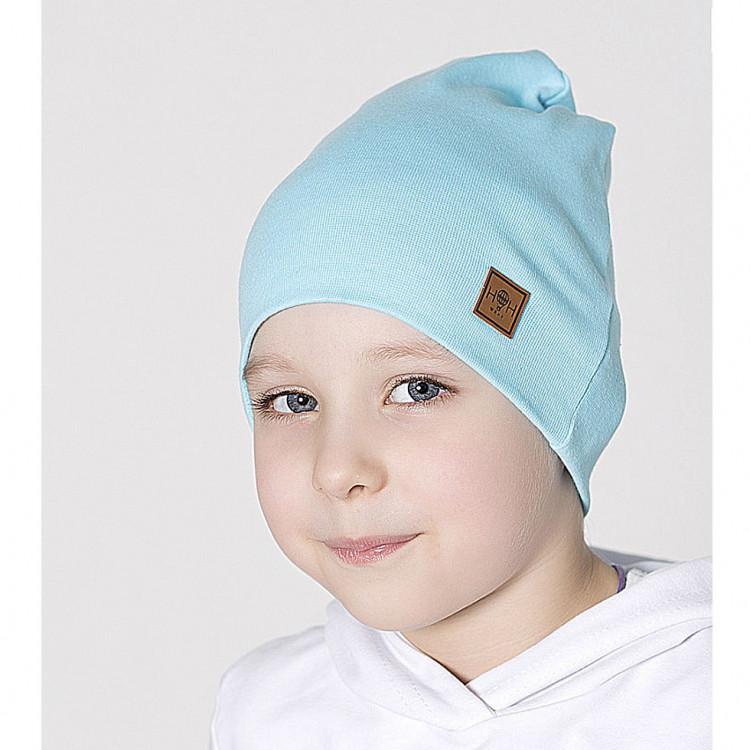 Бирюзовая шапка двухслойная
