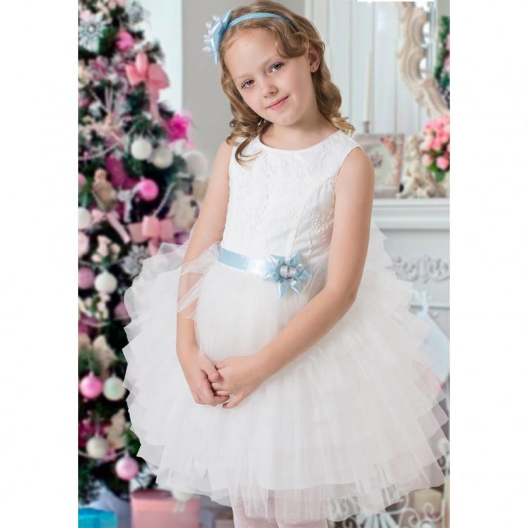Платье пышное из атласа и фатина, белое