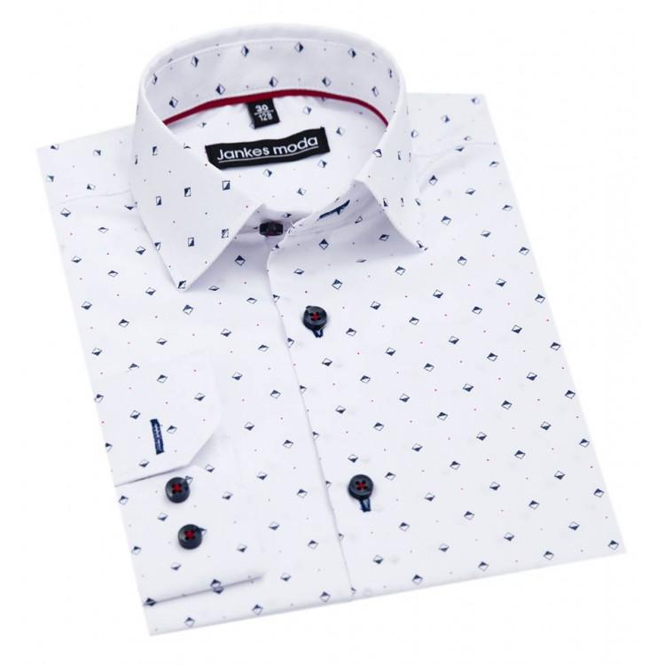 Подростковая рубашка белая в ромб