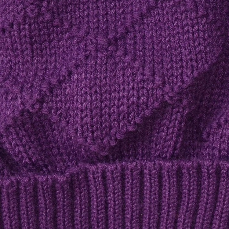 Шапка фиолетовая с помпоном зимняя