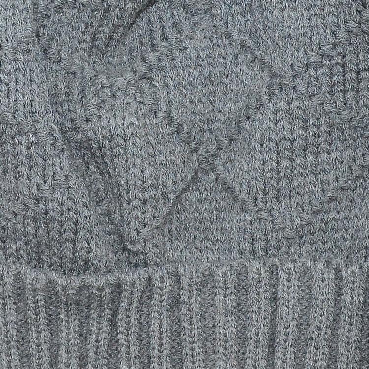 Шапка бини серая с помпоном зимняя
