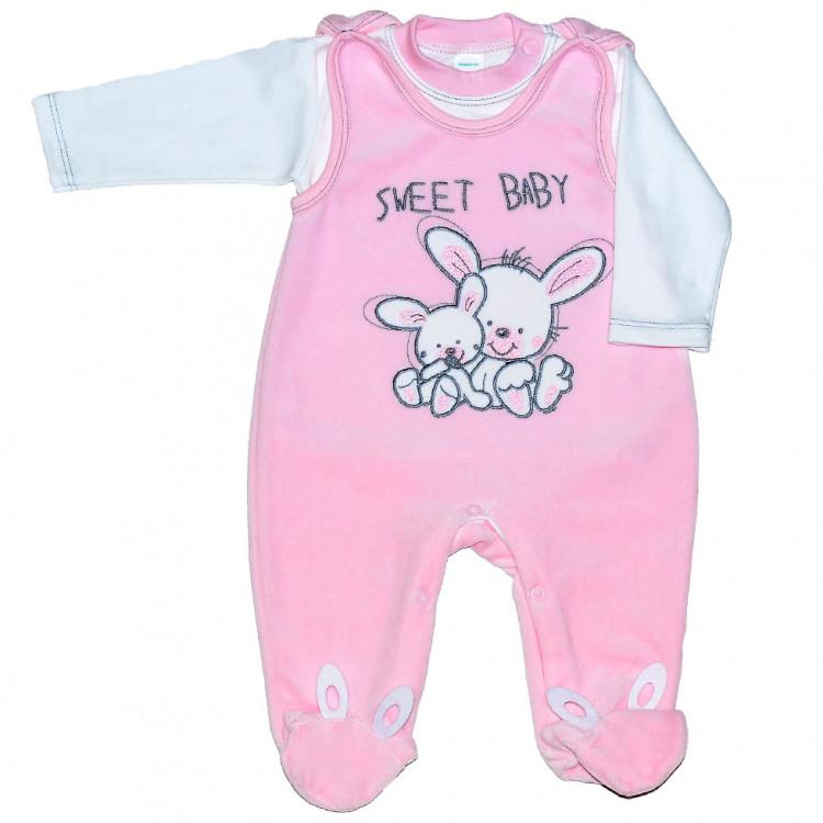 Велюровый розовый комплект для новорожденного SweetBaby