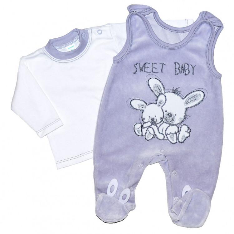 Велюровый серый комплект для новорожденного SweetBaby