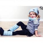 Комплект шапка, шарф-труба и гетры, голубой