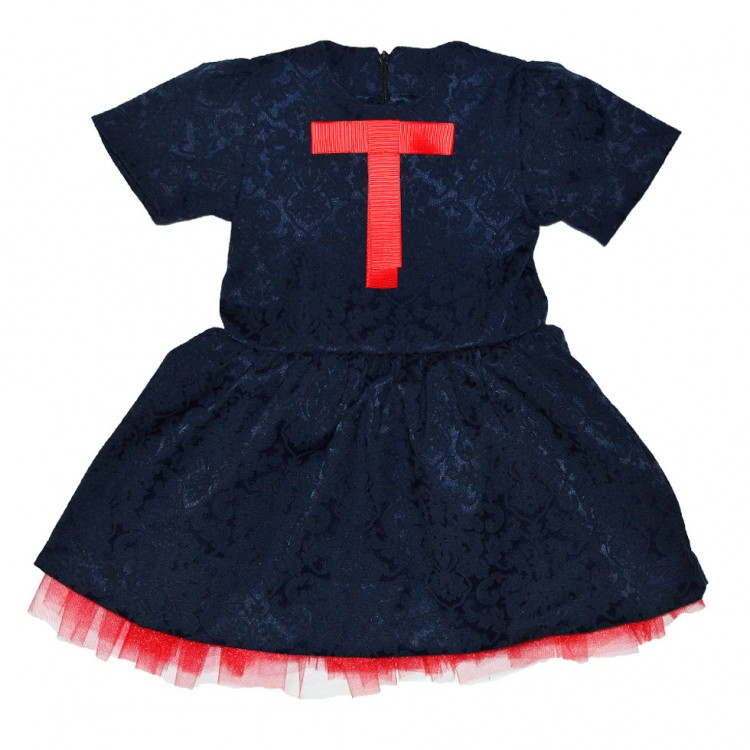 Платье черное из жаккарда для девочки