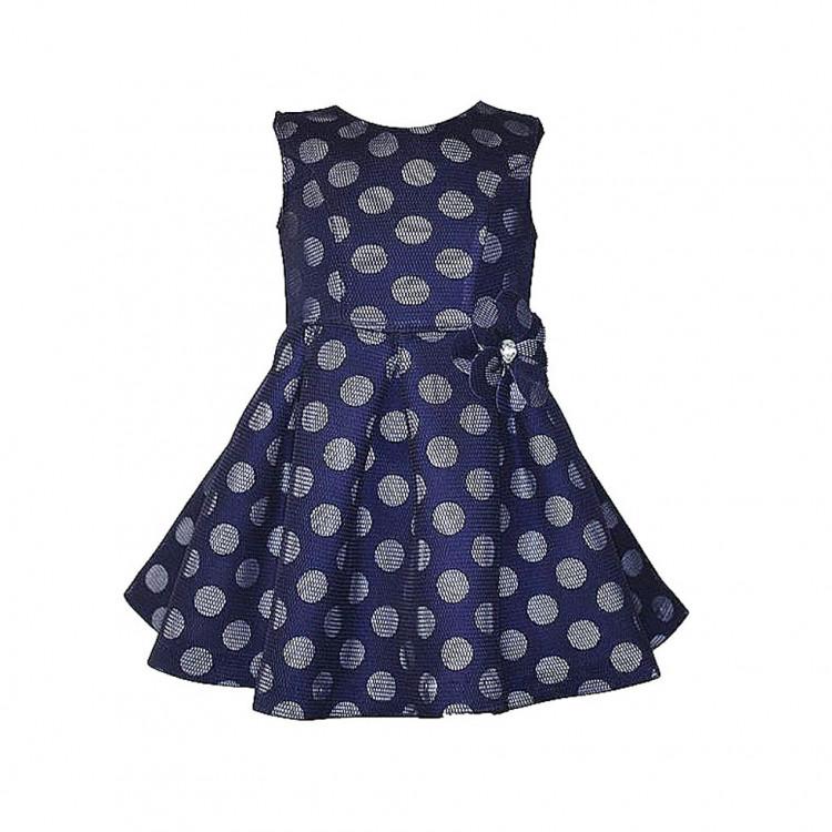 Платье синее в горошек с сеткой