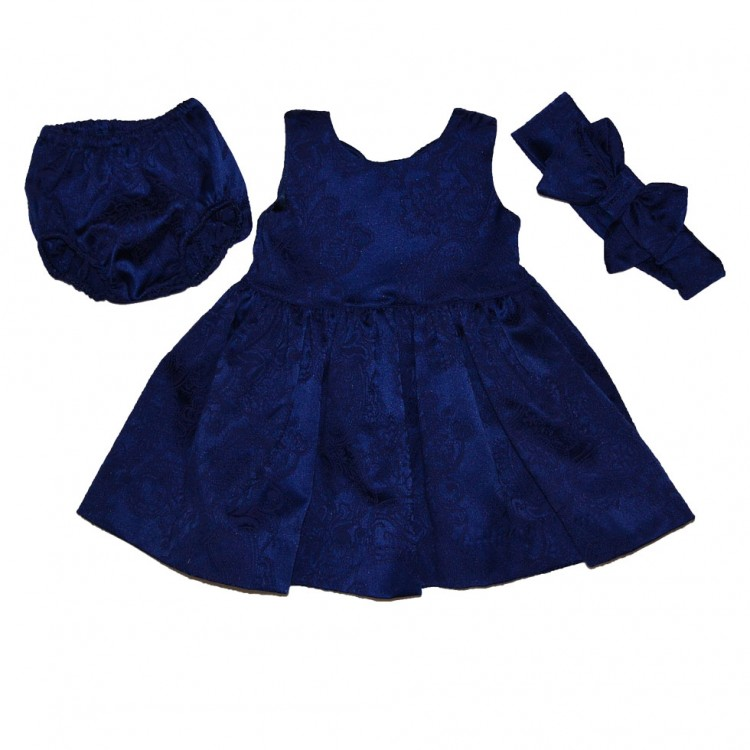 Платье синее в комплекте с повязкой из жаккарда