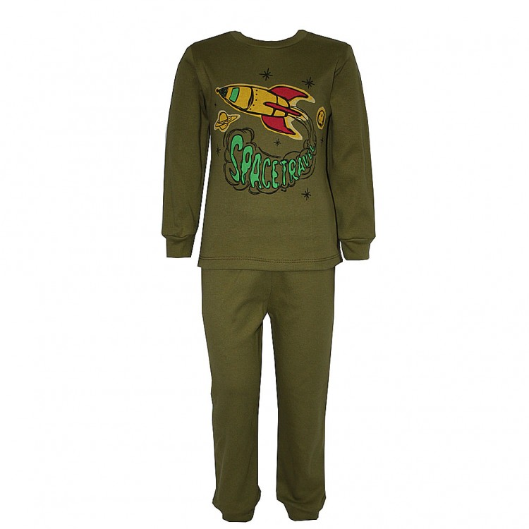 Пижама с аппликацией, оливковая