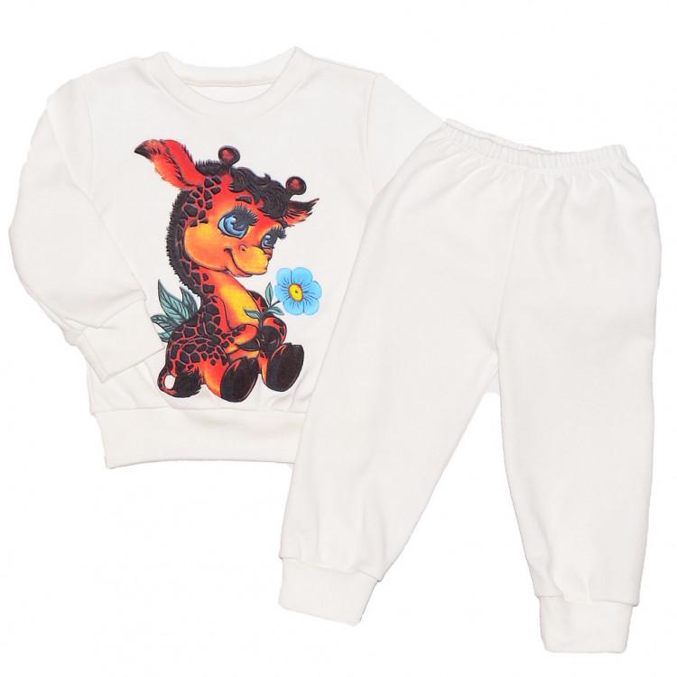 Пижама белая для девочки с жирафом