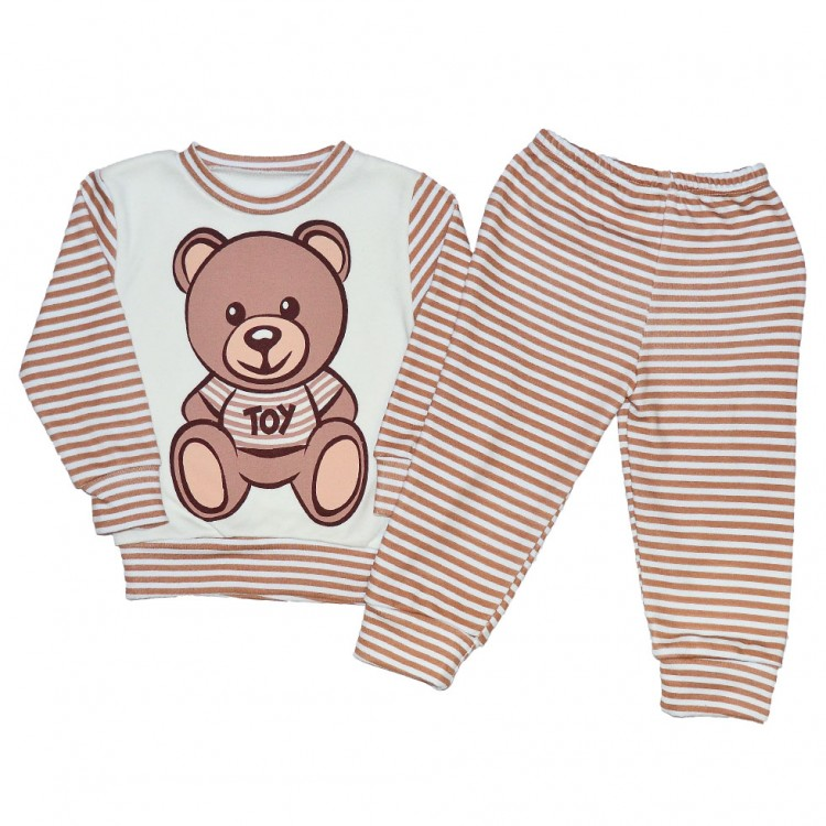 Пижама детская в полоску с мишкой
