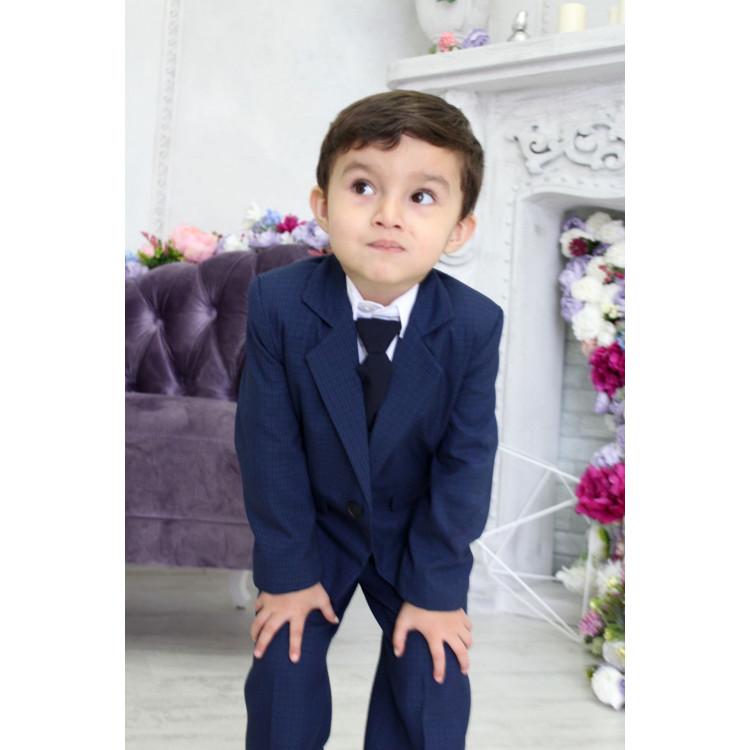 """Синий детский костюм в клетку """"PringlBlue"""""""