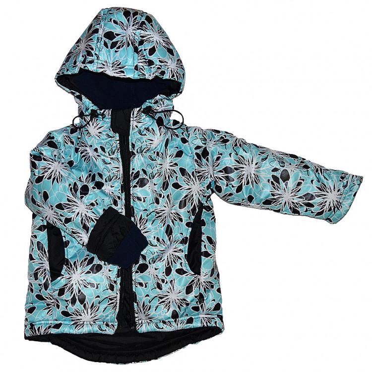 Куртка демисезонная бирюзового цвета с цветами