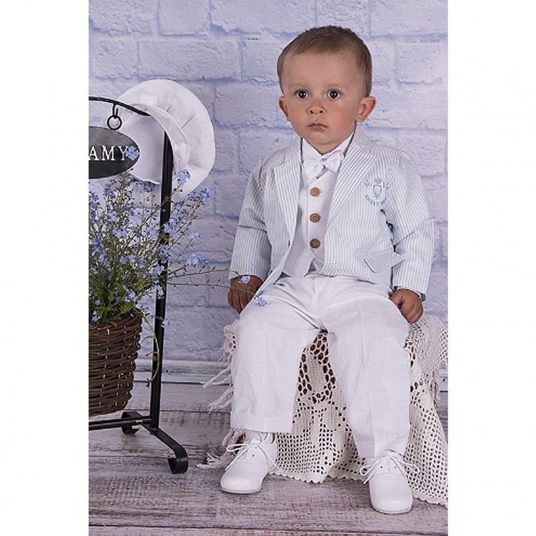 "Летний голубой костюм для мальчика ""Лён"""