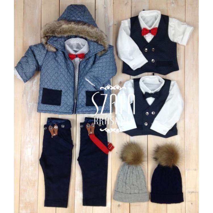 Пальто-куртка для мальчика с капюшоном, синяя